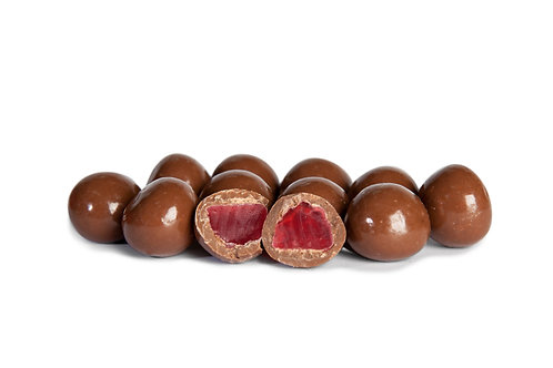 Premium milk chocolate coated raspberries