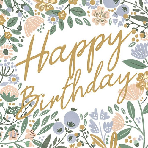 Happy Birthday gold floral