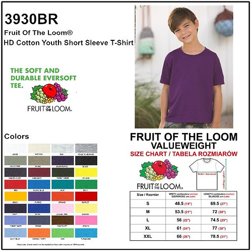 Personalize -Fruit Of The Loom 3930BR - HD Youth Cotton Tee