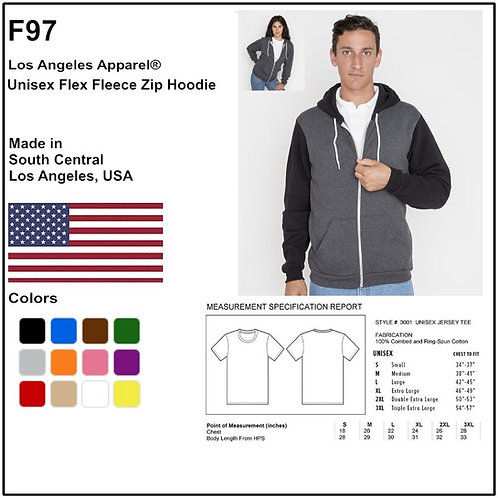 Personalize -Los Angeles Apparel F97 - Unisex Flex Fleece Zip Hoodie
