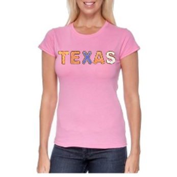 US States Charity T-Shirts- Donuts Font- Pink