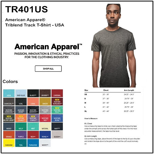 Personalize -American Apparel TR401US - Unisex Tri-Blend Short Sleeve Track Tee