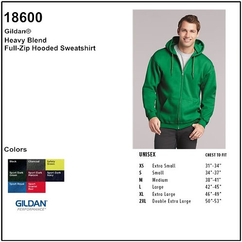 Personalize -Gildan 18600 - Adult Full Zip Hooded Sweatshirt