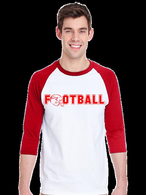 American Football Raglan- Tultex 245- White/Red