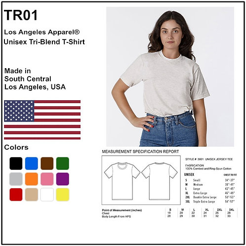 Personalize -Los Angeles Apparel TR01 - Unisex Tri-Blend T-Shirt