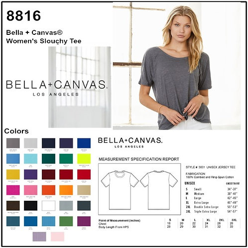 Personalize -Bella+Canvas 8816 - Women's Slouchy Short Sleeve T-Shirt