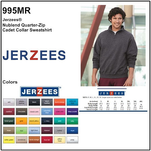 Personalize -JERZEES 995MR - NuBlend Unisex Quarter-Zip Cadet Collar Sweatshirt