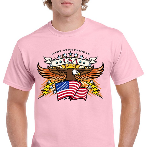 Patriotic TShirt- Made With Pride- Memorial Day- Pink