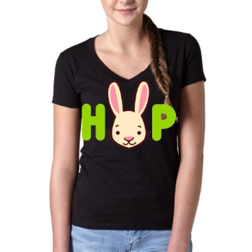 Easter Bunny Tee-Bunny Ears- Ladies TShirt