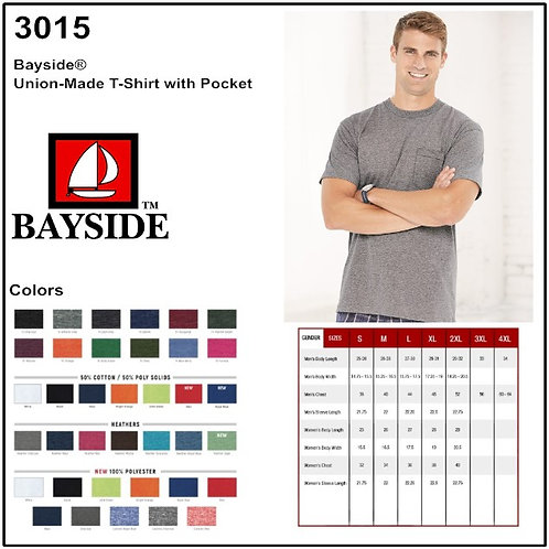 Personalize -Bayside 3015 - Union Made Pocket Tee