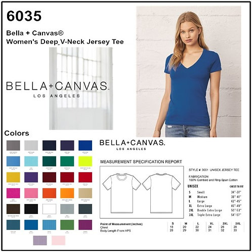 Personalize -Bella Canvas 6035 - Jersey Deep V-Neck Short Sleeve Tee
