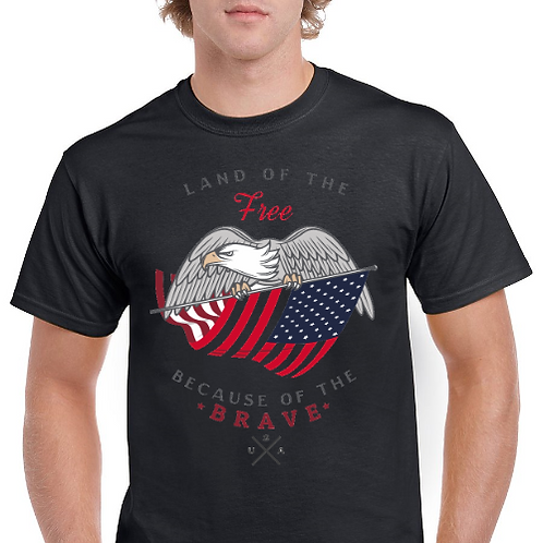 Land Of The Free- Because of The Brave- Memorial Day Tee- Black