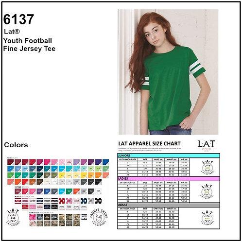 Personalize -LAT Apparel / 6137 Youth Fine Jersey Football T-Shirt