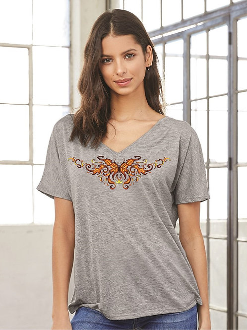 Fire Red Butterfly Valentine's Day Slouchy V-Neck - Vintage Bella+Canvas