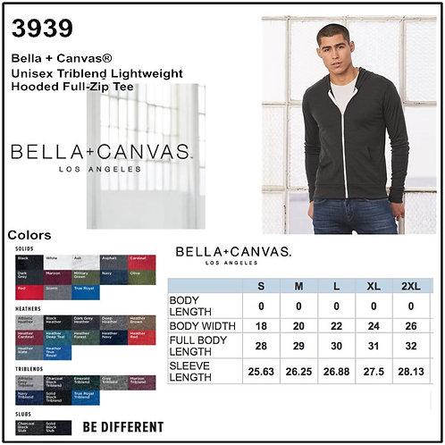 Personalize -Bella Canvas 3939 - Unisex Triblend Lightweight Hoodie
