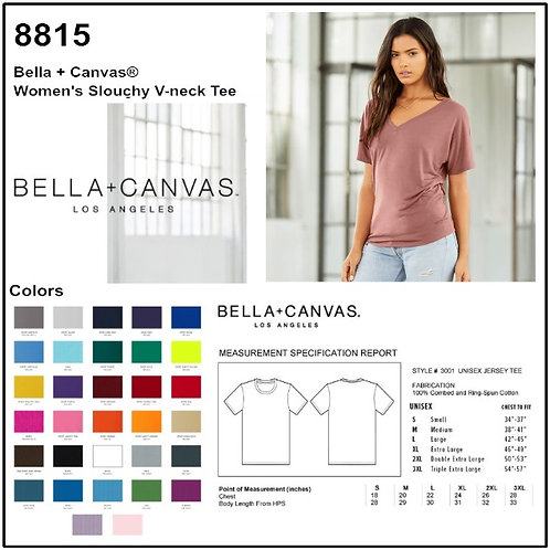 Personalize -Bella Canvas 8815 - Women's Slouchy V-Neck Short Sleeve Tee