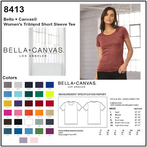 Personalize -Bella Canvas 8413 - Women's Triblend Short Sleeve T-Shirt