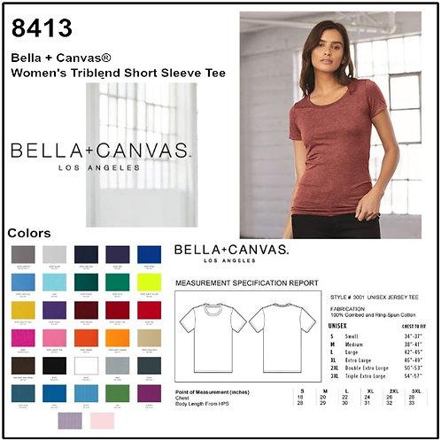 Personalize -Bella Canvas 8413 - Women's Triblend Short Sleeve T-Shirt