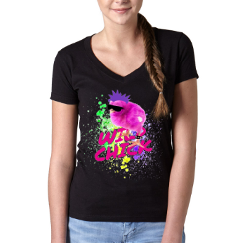Wild Easter Chick V-Neck T Shirt- Black