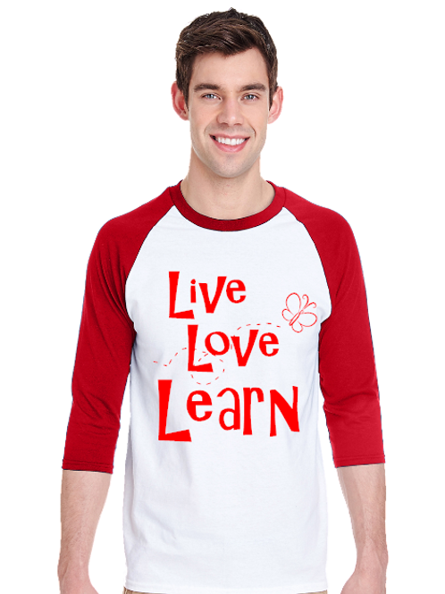 Live Love Learn Design Raglan- Tultex 245- White/Red