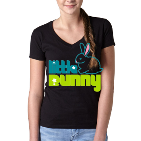 Little Bunny- Easter Ladies T Shirt-Black Model
