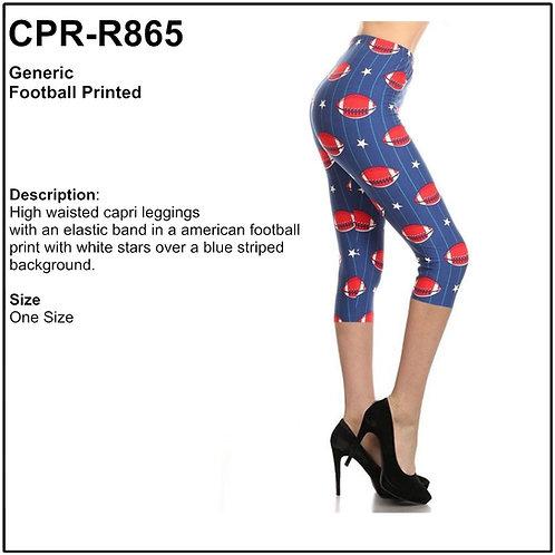 Football Printed Capris Leggings - CPR-R865