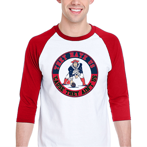 New England Patriots Raglan Tee- Superbowl 2018- Front- White/Red