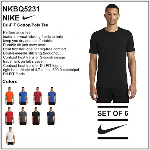 Personalize - Nike Dri-FIT Cotton/Poly Tee - NKBQ5231 (Set of 6)