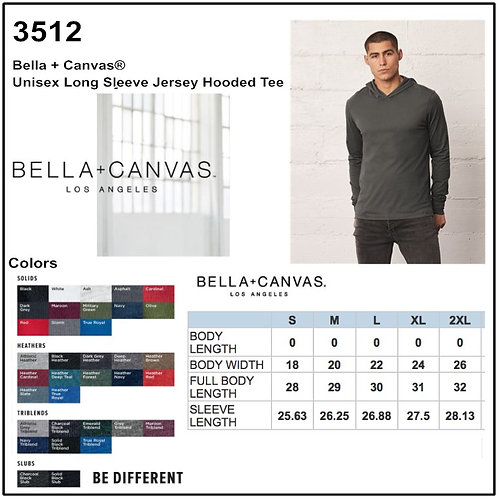 Personalize -Bella Canvas 3512 - Unisex Jersey Long Sleeve Hoodie