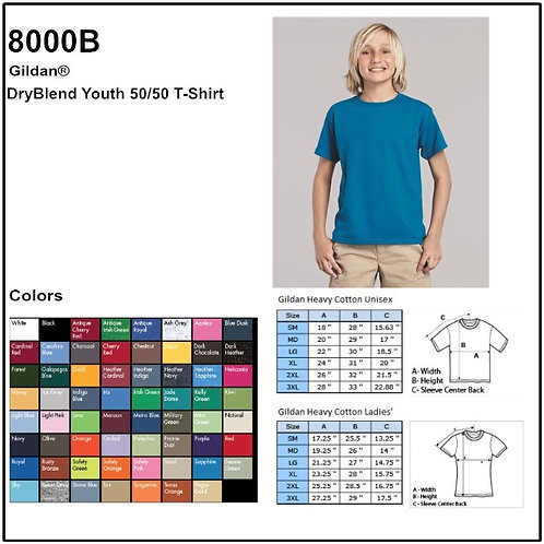 Personalize -Gildan 8000B - Youth DryBlend T-Shirt