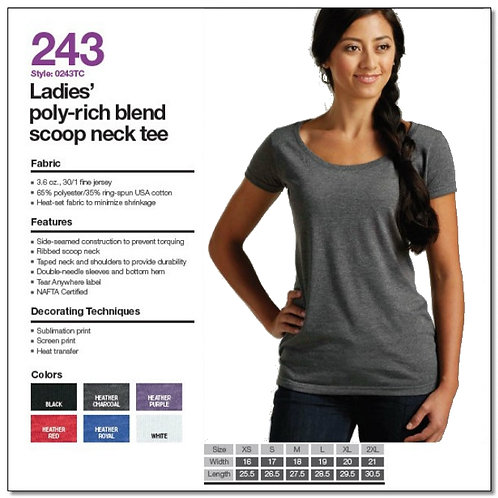 Tultex 243 - Ladies' Poly-Rich Blend Scoop Neck T-Shirt