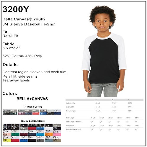 Personalize - Bella-Canvas 3200Y - Youth 3/4 Sleeve Baseball Tee