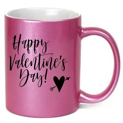 Happy Valentine's Day - Metallic Pink Coffee Mug