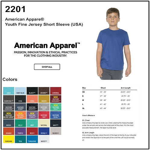 Personalize - American Apparel 2201 - Youth Fine Jersey Tee Shirt