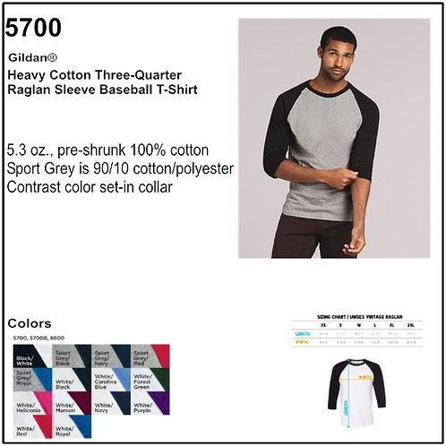 Personalize -Gildan 5700 - Adult Dryblend 3/4 Sleeve Raglan T-Shirt