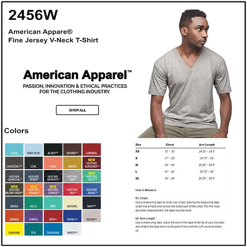 Personalize - American Apparel 2456W - Fine Jersey Short Sleeve V-Neck Tee