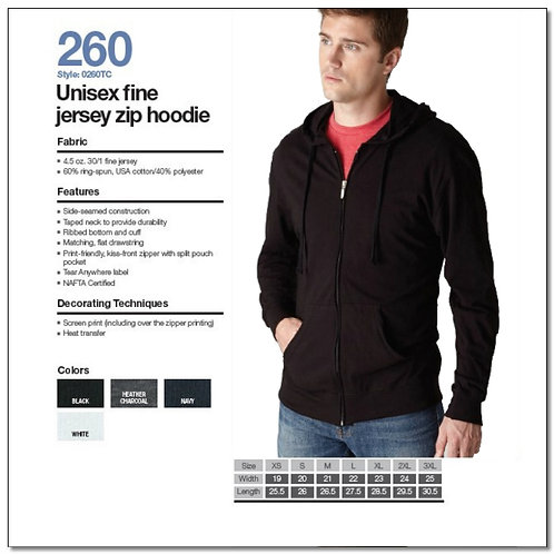 Tultex 260 - Unisex Fine Jersey Zip Hoodie