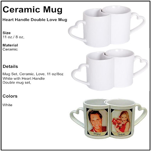 Personalized Heart Handle Love Mugs