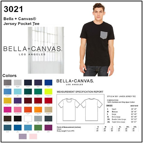 Personalize -Bella Canvas 3021 - Men's Jersey Short Sleeve Pocket Tee
