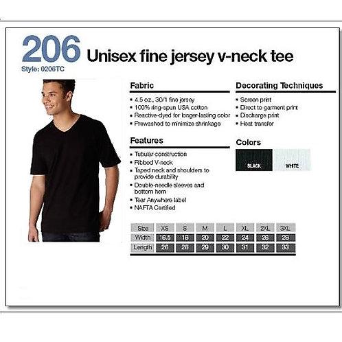 Tultex 206 - Unisex Fine Jersey V-Neck Tee