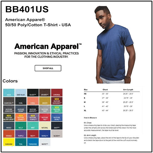 Personalize -American Apparel BB401US - Adult Poly Cotton T-Shirt