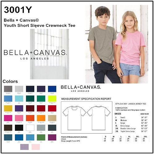 Personalize -Bella Canvas 3001Y - Youth Jersey Short Sleeve Tee