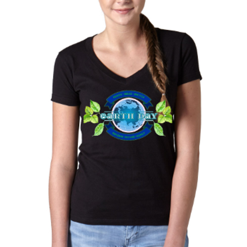 Earth Day V-Neck Tee- Black