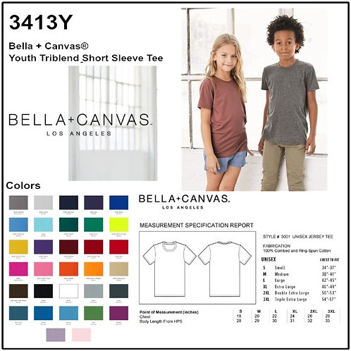 Personalize -Bella Canvas 3413Y - Youth Triblend Short Sleeve Tee