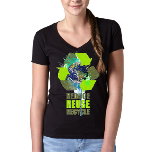 Reduce, Reuse, Recycle V-Neck Tees- Black