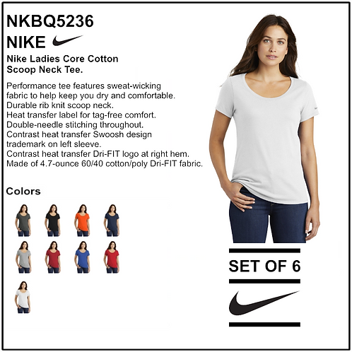 Personalize - Nike Ladies Core Cotton Scoop Neck Tee - NKBQ5236 (Set of 6)