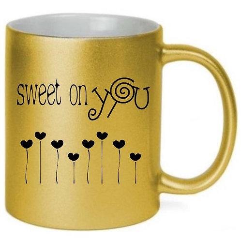 Sweet On You Valentine's Day - Metallic Gold Coffee Mug