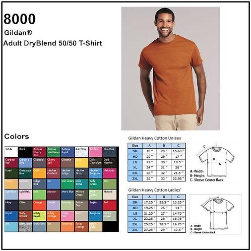 Personalize -Gildan 8000 - Adult DryBlend T-Shirt