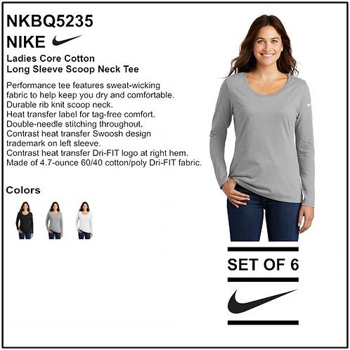 Personalize - Nike Ladies Core Long Sleeve Scoop Neck Tee - NKBQ5235 (Set of 6)