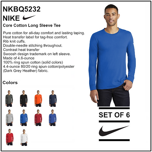 Personalize - Nike Core Cotton Long Sleeve Tee - NKBQ5232 (Set of 6)